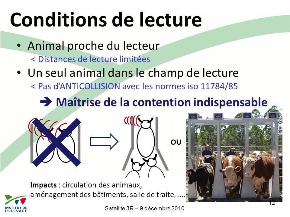 OU 12 Satellite 3R – 9 décembre 2010 Conditions de lecture Animal proche du lecteur < Distances de lecture limitées Un seul animal dans le champ de le