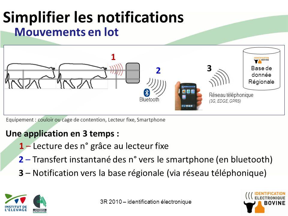 17 Simplifier les notifications 3R 2010 – identification électronique Base de donnée Régionale 1 – Lecture des n° grâce au lecteur fixe 1 2 – Transfer