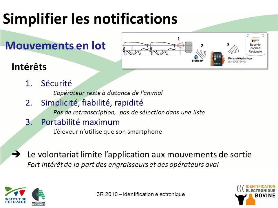 18 Simplifier les notifications 3R 2010 – identification électronique Mouvements en lot Intérêts 1.Sécurité Lopérateur reste à distance de lanimal 2.S