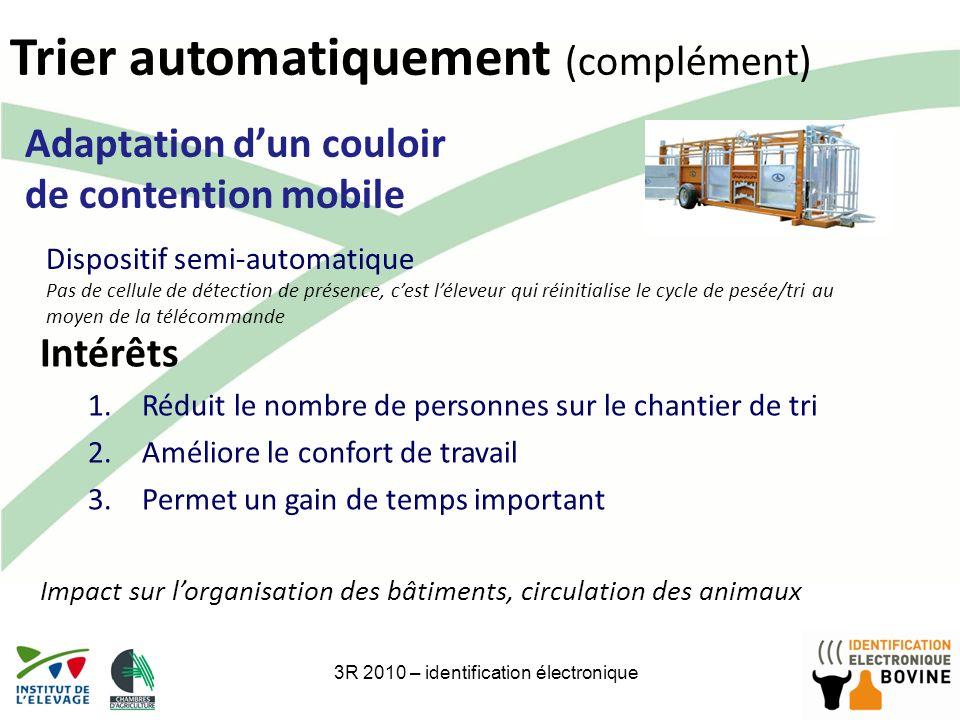21 Trier automatiquement (complément) 3R 2010 – identification électronique Adaptation dun couloir de contention mobile Intérêts 1.Réduit le nombre de