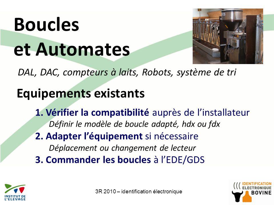 Boucles et Automates 3R 2010 – identification électronique Equipements existants 1.Vérifier la compatibilité auprès de linstallateur Définir le modèle