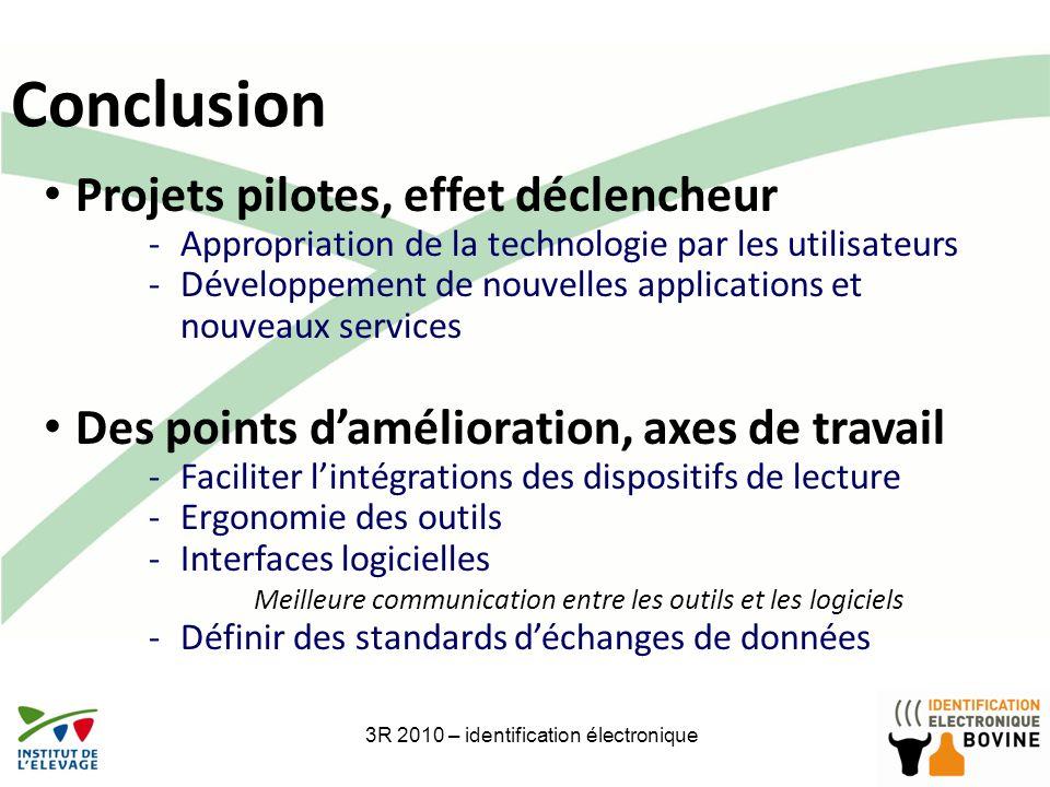 26 Conclusion 3R 2010 – identification électronique Projets pilotes, effet déclencheur -Appropriation de la technologie par les utilisateurs -Développ