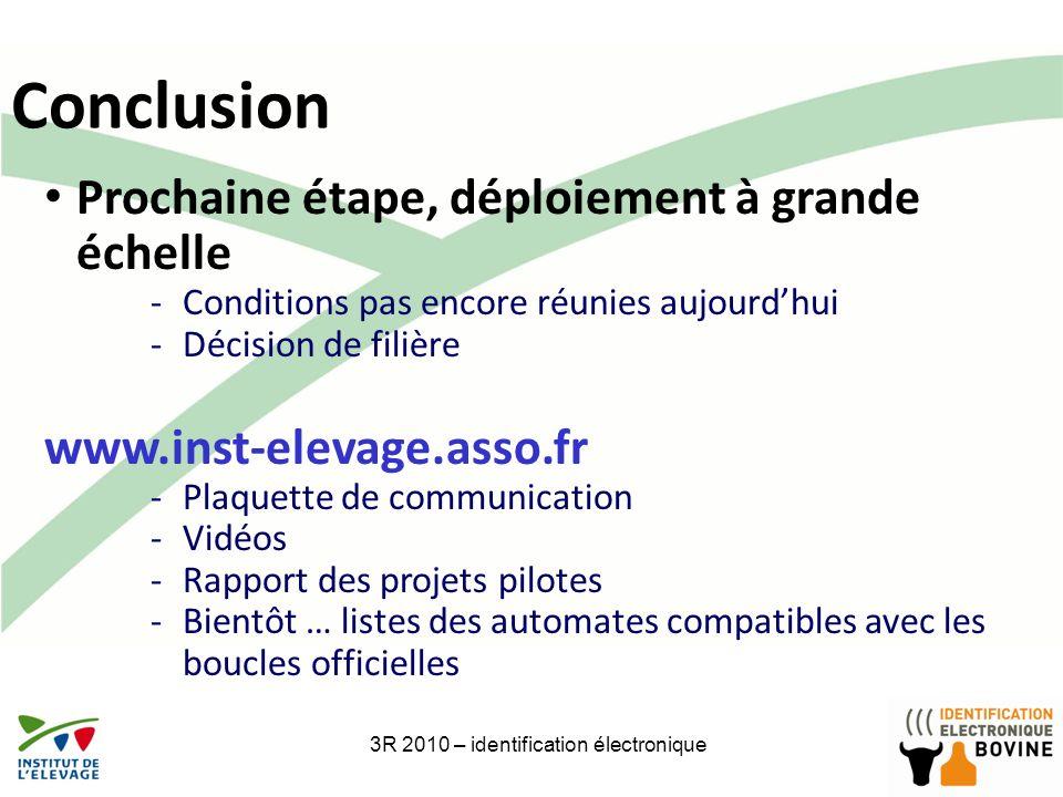 27 Conclusion 3R 2010 – identification électronique Prochaine étape, déploiement à grande échelle -Conditions pas encore réunies aujourdhui -Décision