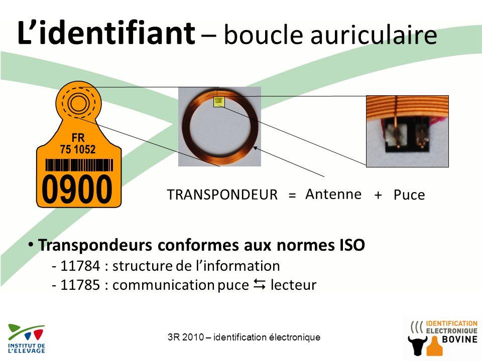 3R 2010 – identification électronique6 Lidentifiant – boucle auriculaire FR 75 1052 0900 TRANSPONDEUR Antenne Transpondeurs conformes aux normes ISO -