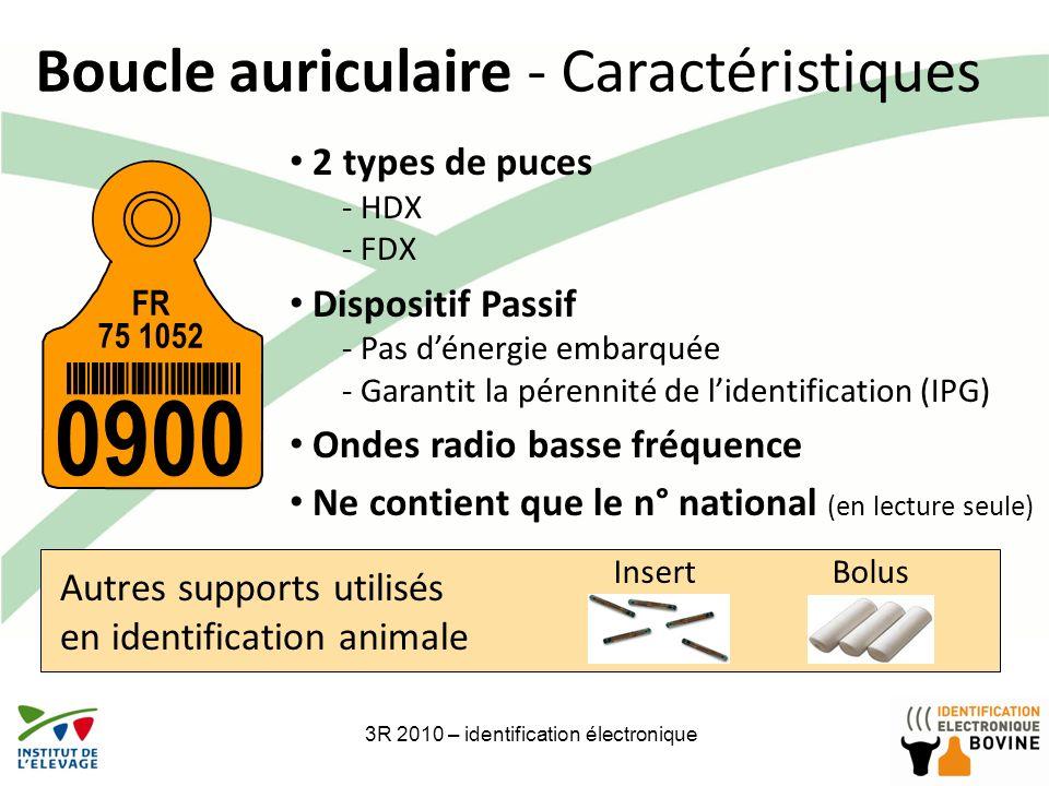 3R 2010 – identification électronique7 Boucle auriculaire - Caractéristiques FR 75 1052 0900 2 types de puces - HDX - FDX Dispositif Passif - Pas déne
