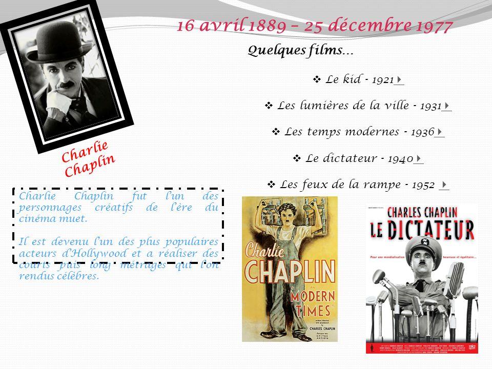 Charlie Chaplin 16 avril 1889 – 25 décembre 1977 Quelques films… Le kid - 1921 Les lumières de la ville - 1931 Les temps modernes - 1936 Le dictateur - 1940 Les feux de la rampe - 1952 Charlie Chaplin fut lun des personnages créatifs de lère du cinéma muet.