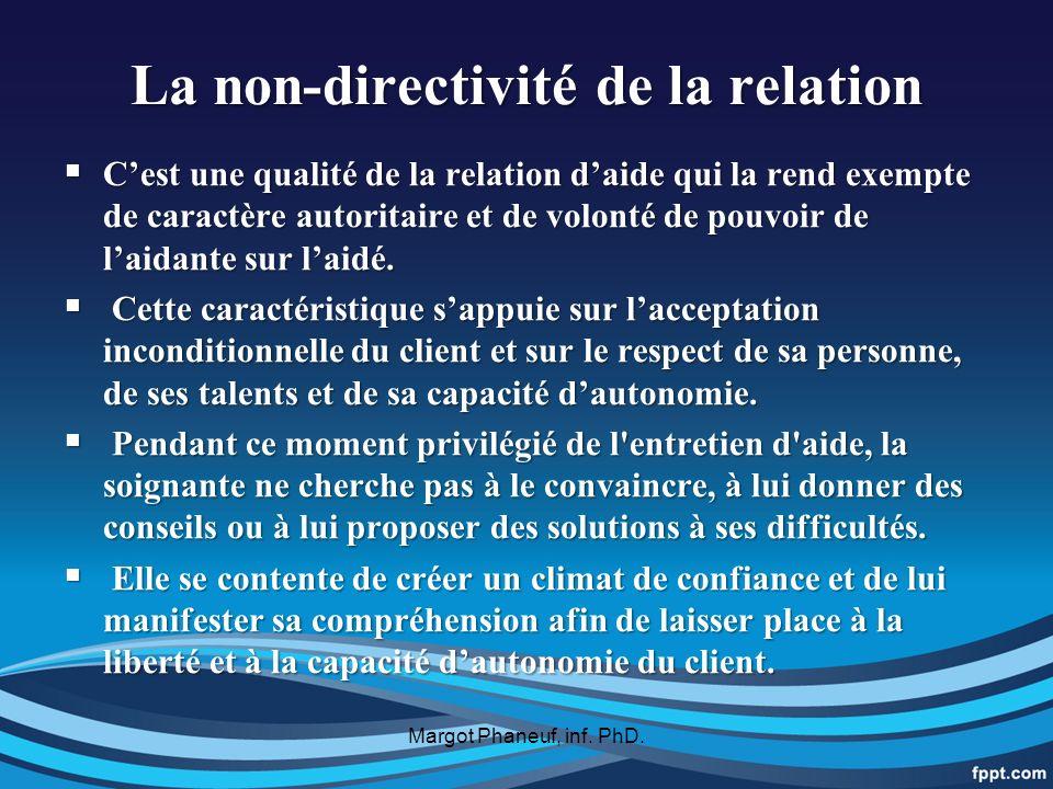 La non-directivité de la relation Cest une qualité de la relation daide qui la rend exempte de caractère autoritaire et de volonté de pouvoir de laidante sur laidé.