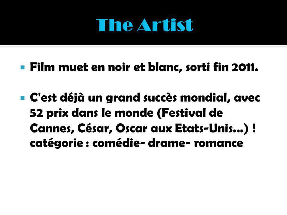 Film muet en noir et blanc, sorti fin 2011. C'est déjà un grand succès mondial, avec 52 prix dans le monde (Festival de Cannes, César, Oscar aux Etats