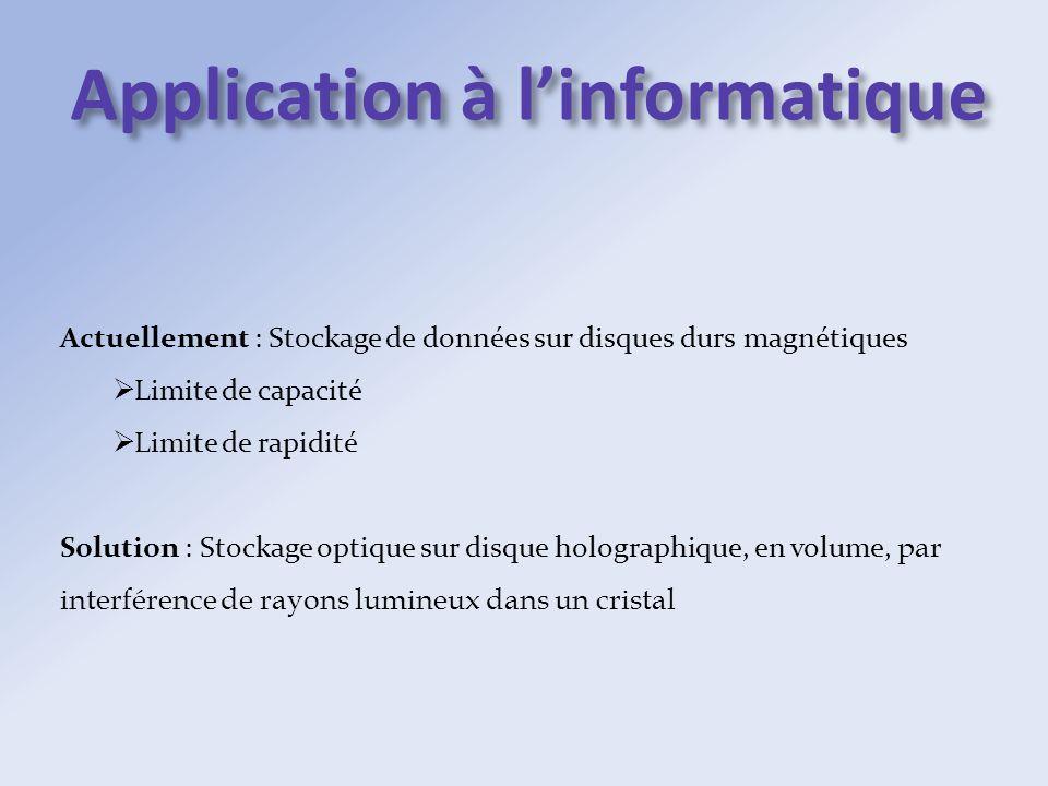 Application à linformatique Actuellement : Stockage de données sur disques durs magnétiques Limite de capacité Limite de rapidité Solution : Stockage