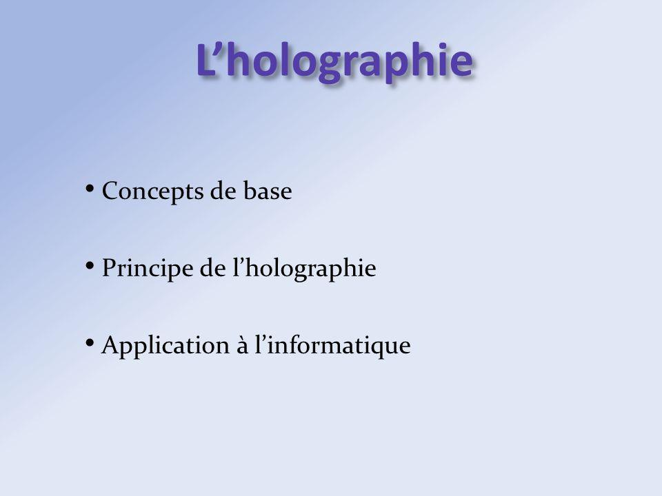 Lholographie Concepts de base Principe de lholographie Application à linformatique