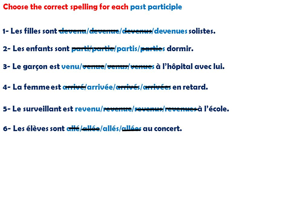 Choose the correct spelling for each past participle 1- Les filles sont devenu/devenue/devenus/devenues solistes.