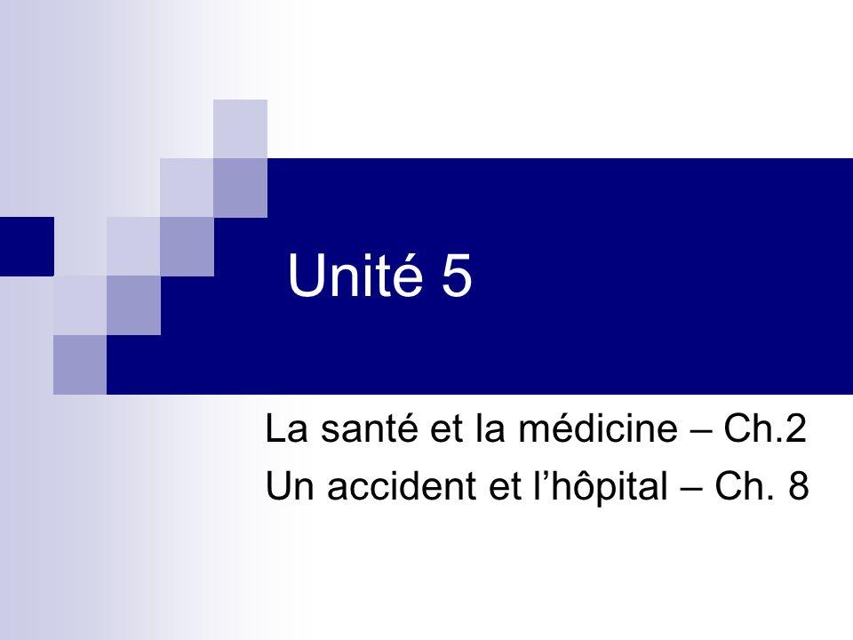 Unité 5 La santé et la médicine – Ch.2 Un accident et lhôpital – Ch. 8