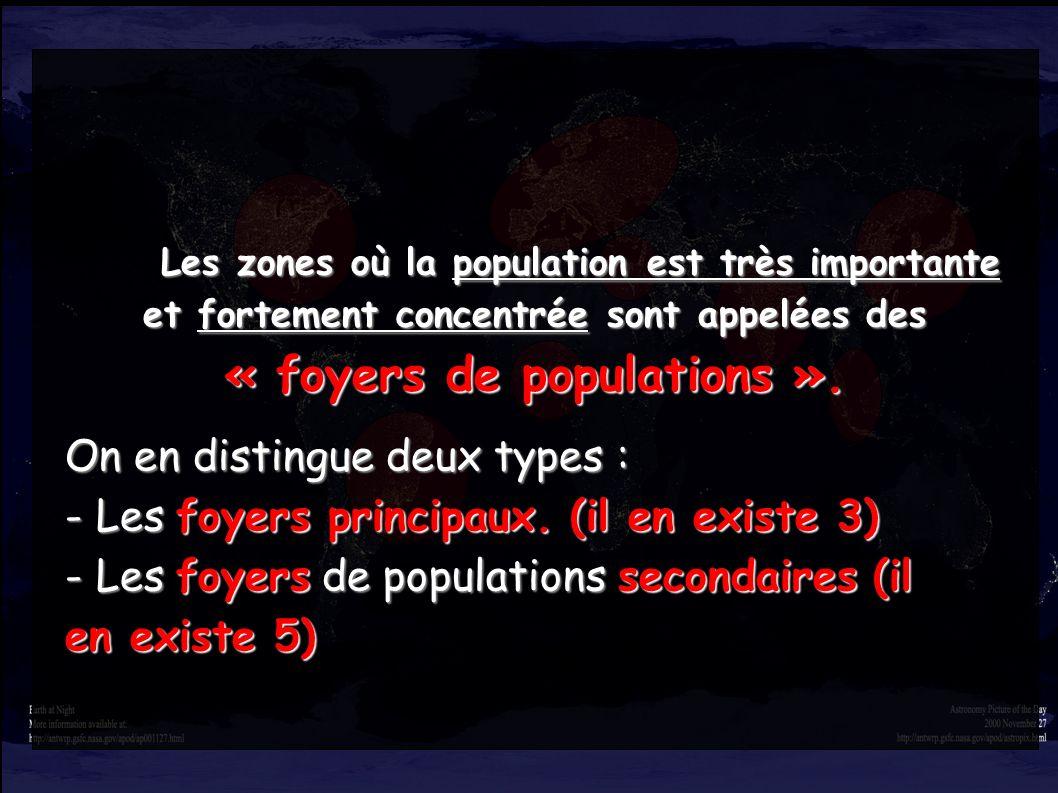 Les zones où la population est très importante et fortement concentrée sont appelées des Les zones où la population est très importante et fortement c