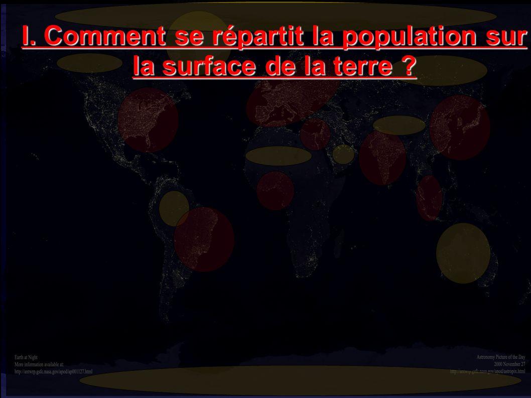 I. Comment se répartit la population sur la surface de la terre ?