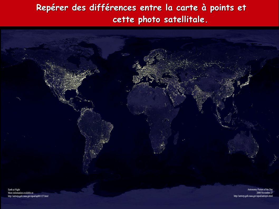 Repérer des différences entre la carte à points et Repérer des différences entre la carte à points et cette photo satellitale. cette photo satellitale