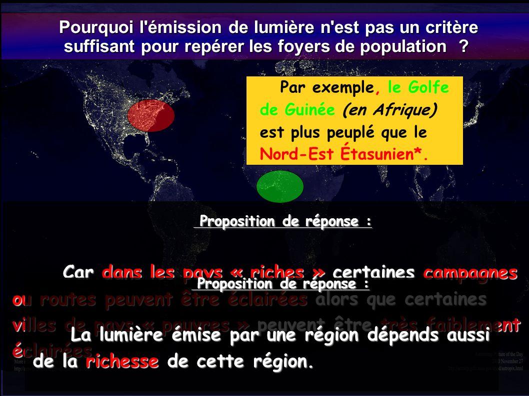 Pourquoi l'émission de lumière n'est pas un critère Pourquoi l'émission de lumière n'est pas un critère suffisant pour repérer les foyers de populatio