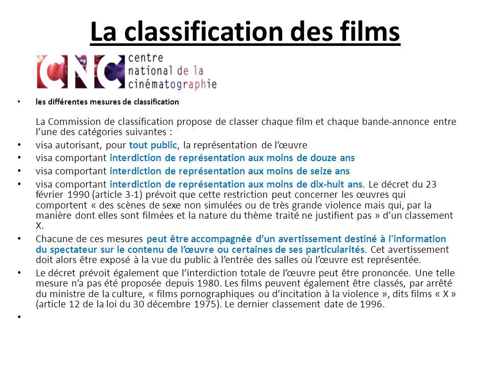 La classification des films les différentes mesures de classification La Commission de classification propose de classer chaque film et chaque bande-a