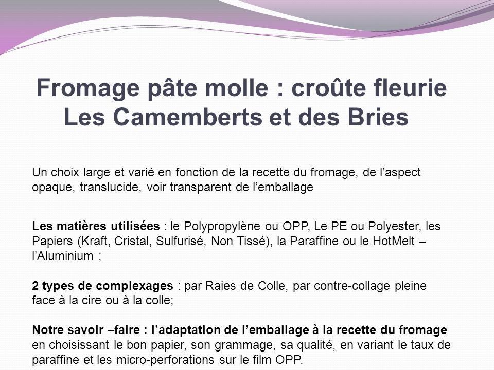 Fromage pâte molle : croûte fleurie Les Camemberts et des Bries Un choix large et varié en fonction de la recette du fromage, de laspect opaque, trans