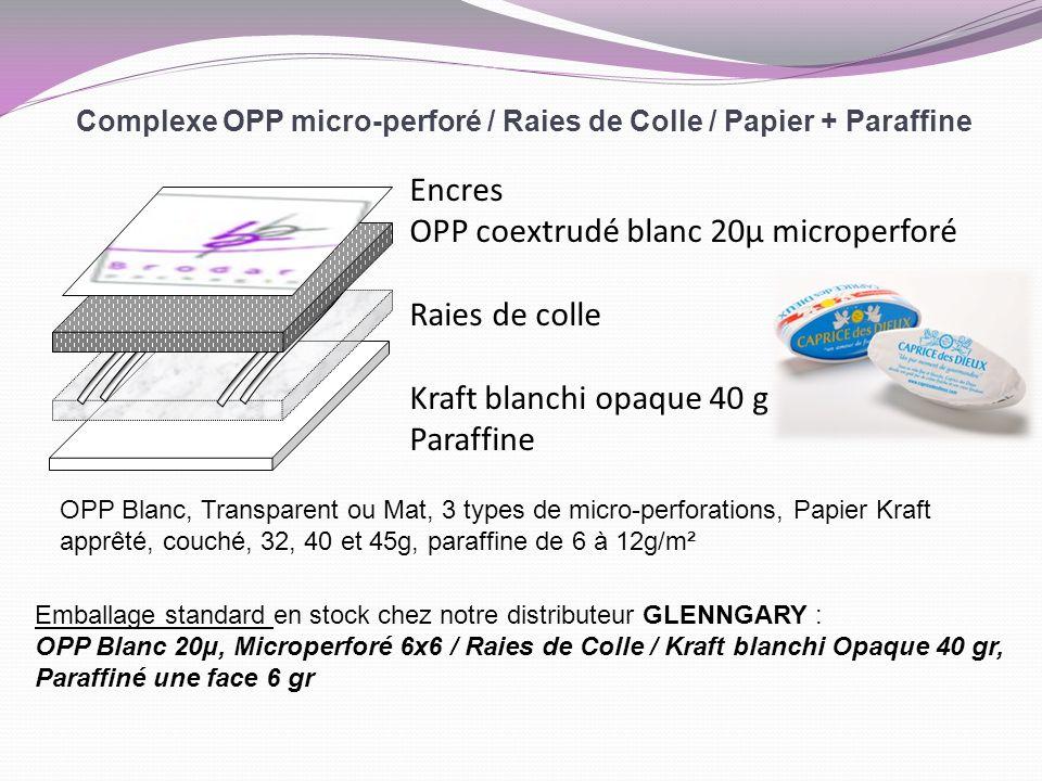 Complexe OPP micro-perforé / Raies de Colle / Papier + Paraffine Encres OPP coextrudé blanc 20µ microperforé Raies de colle Kraft blanchi opaque 40 g