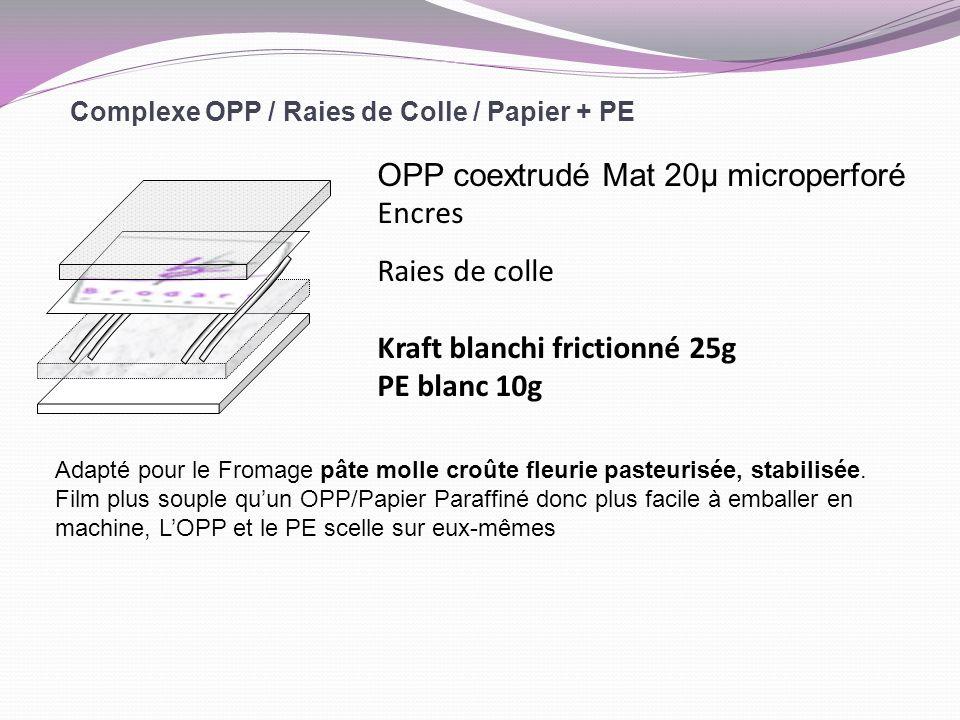 Complexe OPP / Raies de Colle / Papier + PE OPP coextrudé Mat 20µ microperforé Encres Raies de colle Kraft blanchi frictionné 25g PE blanc 10g Adapté