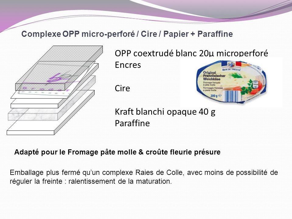 Complexe OPP micro-perforé / Cire / Papier + Paraffine OPP coextrudé blanc 20µ microperforé Encres Cire Kraft blanchi opaque 40 g Paraffine Adapté pou