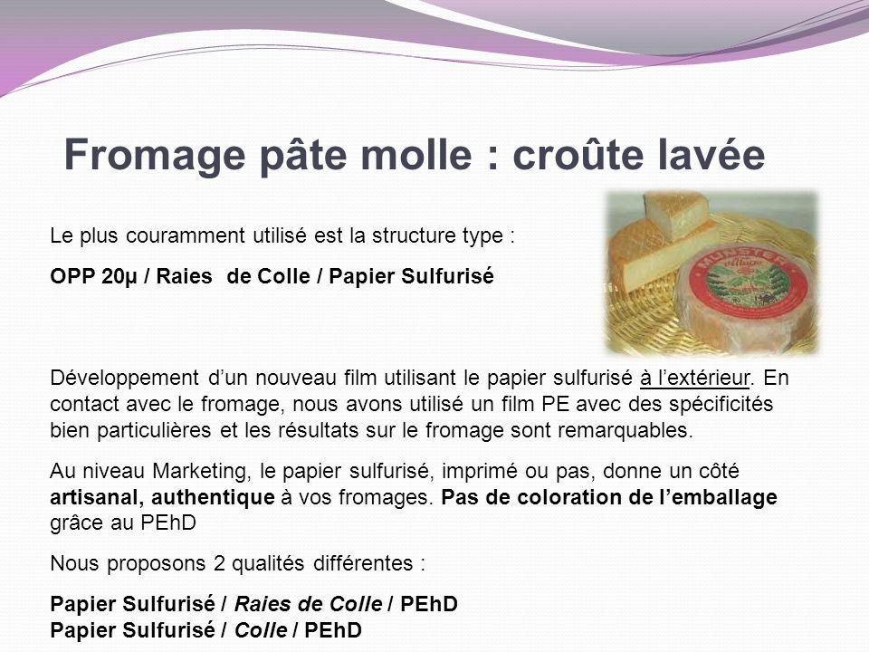 Fromage pâte molle : croûte lavée Le plus couramment utilisé est la structure type : OPP 20µ / Raies de Colle / Papier Sulfurisé Développement dun nou