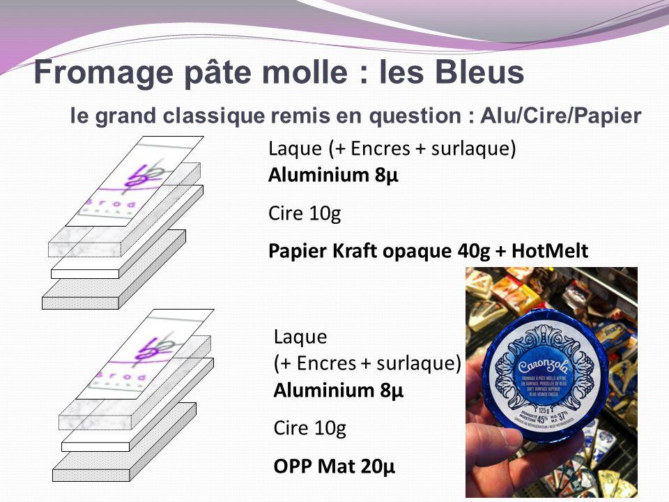Fromage pâte molle : les Bleus le grand classique remis en question : Alu/Cire/Papier Laque (+ Encres + surlaque) Aluminium 8µ Cire 10g Papier Kraft o
