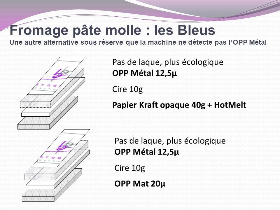 Fromage pâte molle : les Bleus Une autre alternative sous réserve que la machine ne détecte pas lOPP Métal Pas de laque, plus écologique OPP Métal 12,