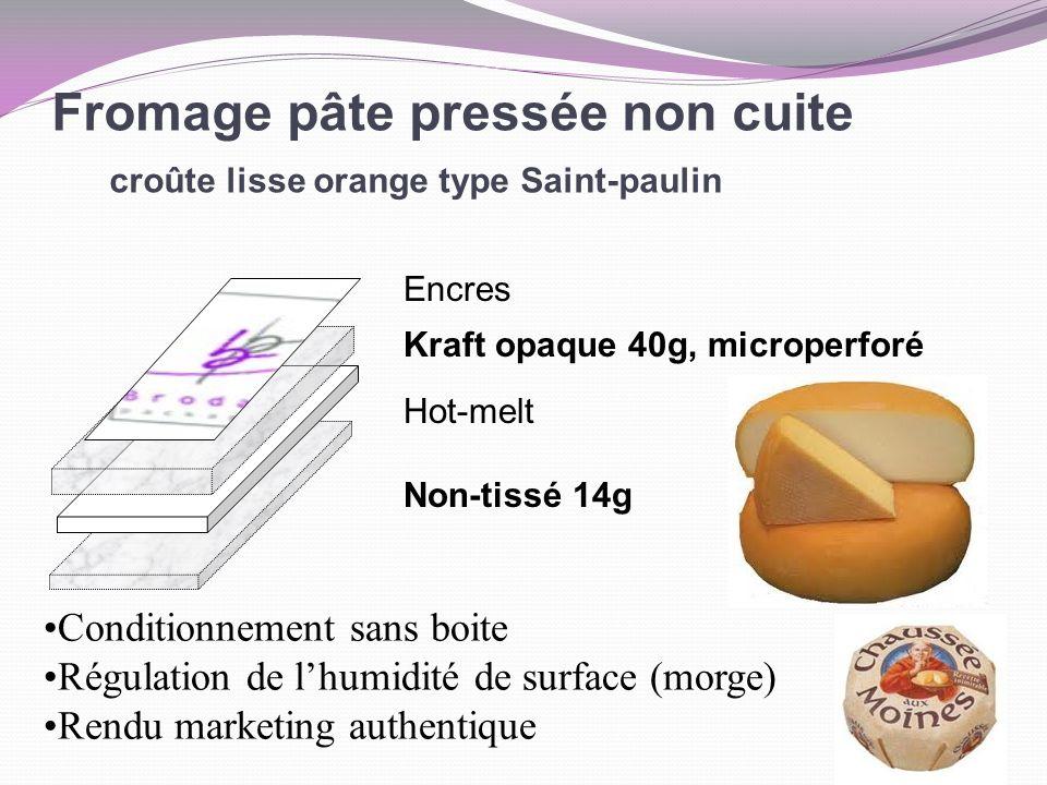 Fromage pâte pressée non cuite croûte lisse orange type Saint-paulin Encres Kraft opaque 40g, microperforé Hot-melt Non-tissé 14g Conditionnement sans