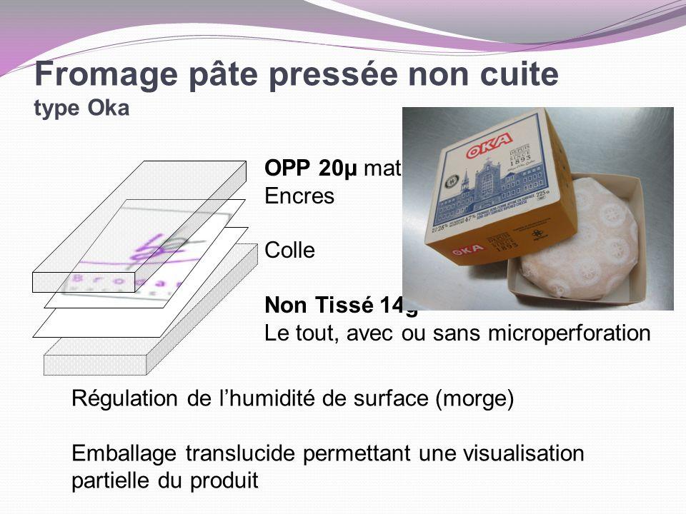 Fromage pâte pressée non cuite type Oka OPP 20µ mat Encres Colle Non Tissé 14g Le tout, avec ou sans microperforation Régulation de lhumidité de surfa