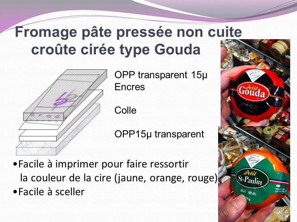 Fromage pâte pressée non cuite croûte cirée type Gouda OPP transparent 15µ Encres Colle OPP15µ transparent Facile à imprimer pour faire ressortir la c