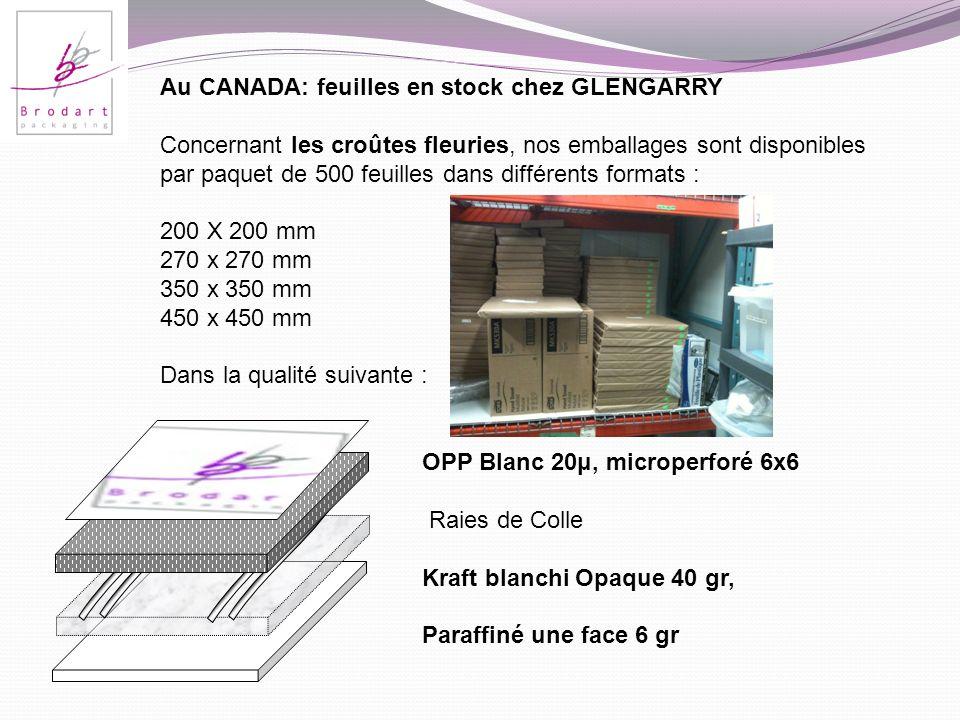 Au CANADA: feuilles en stock chez GLENGARRY Concernant les croûtes fleuries, nos emballages sont disponibles par paquet de 500 feuilles dans différent