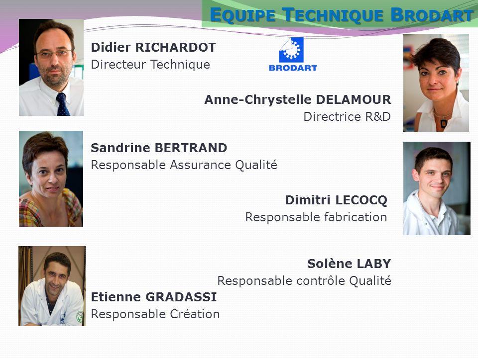 Didier RICHARDOT Directeur Technique Dimitri LECOCQ Responsable fabrication Anne-Chrystelle DELAMOUR Directrice R&D Sandrine BERTRAND Responsable Assu
