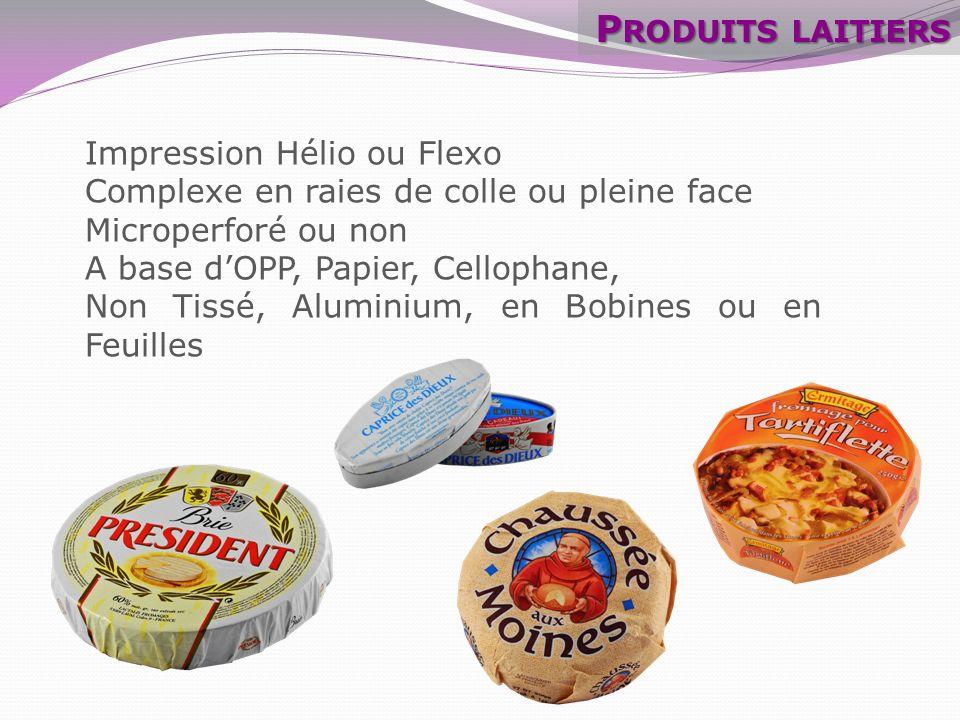 Fromage pâte molle : les Bleus Nouveau développement sans Aluminium Encres OPP Blanc 20µ Cire 10g Kraft blanchi frictionné 32g - PE 12g