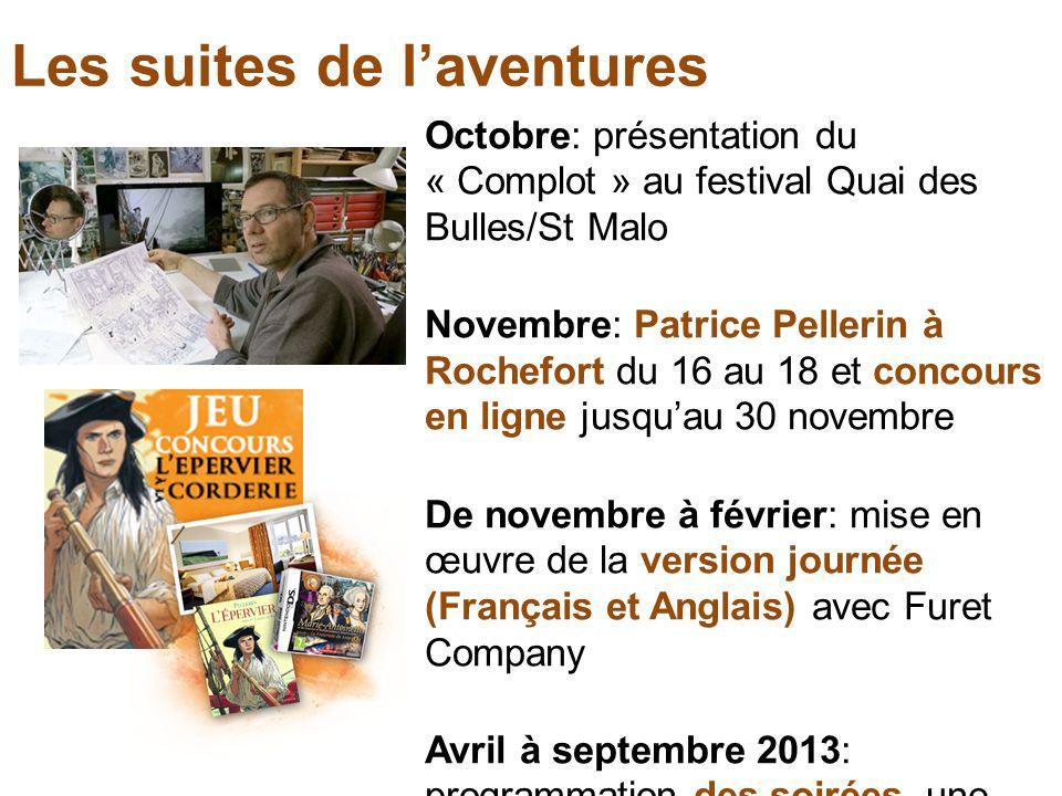 Les suites de laventures Octobre: présentation du « Complot » au festival Quai des Bulles/St Malo Novembre: Patrice Pellerin à Rochefort du 16 au 18 e