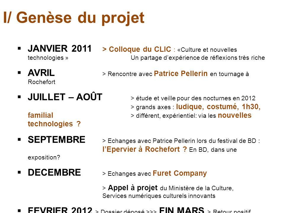 I/ Genèse du projet JANVIER 2011 > Colloque du CLIC : «Culture et nouvelles technologies » Un partage dexpérience de réflexions très riche AVRIL > Ren