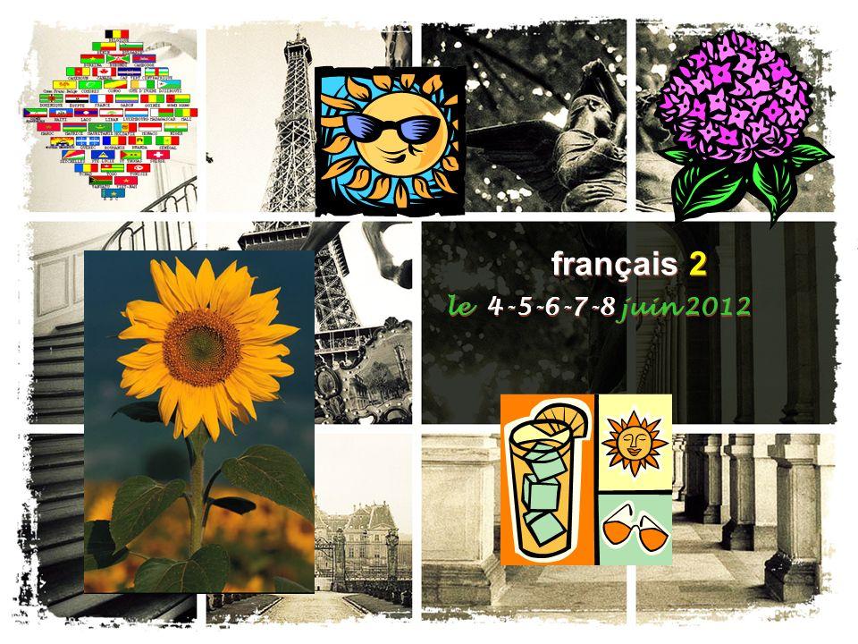français 2 le 4 juin 2012 AgendaCahier I.EXAMEN DE PRATIQUE – Examen Final français 2 II.