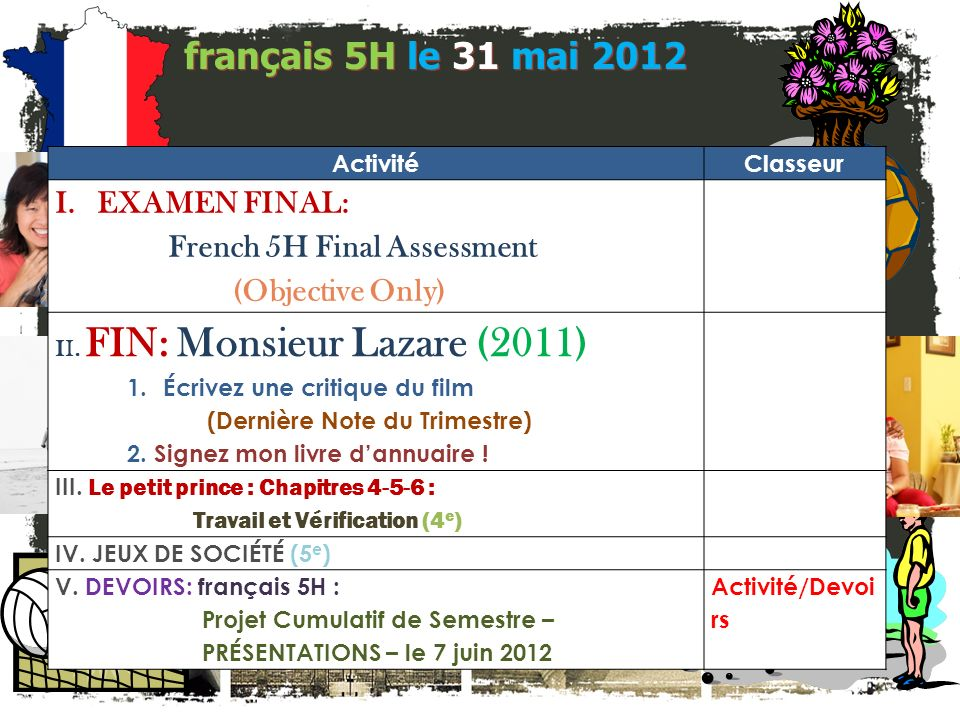 français 5H le 31 mai 2012 ActivitéClasseur I.EXAMEN FINAL: French 5H Final Assessment (Objective Only) II.