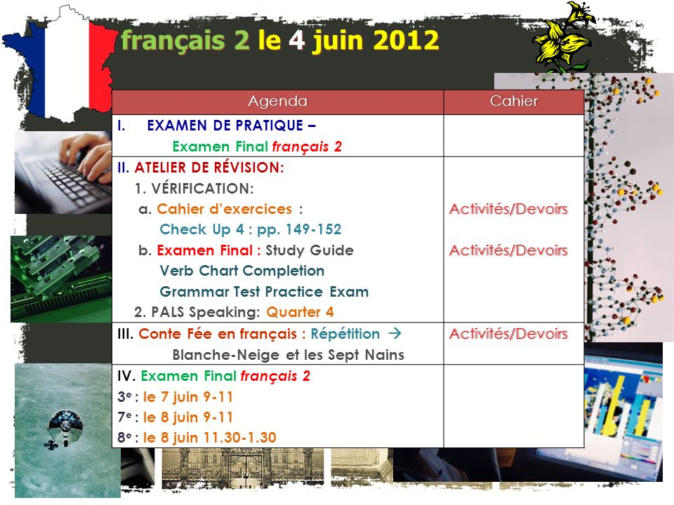 français 2 le 7-8 juin 2012 AgendaCahier I.Examen Final français 2 II.