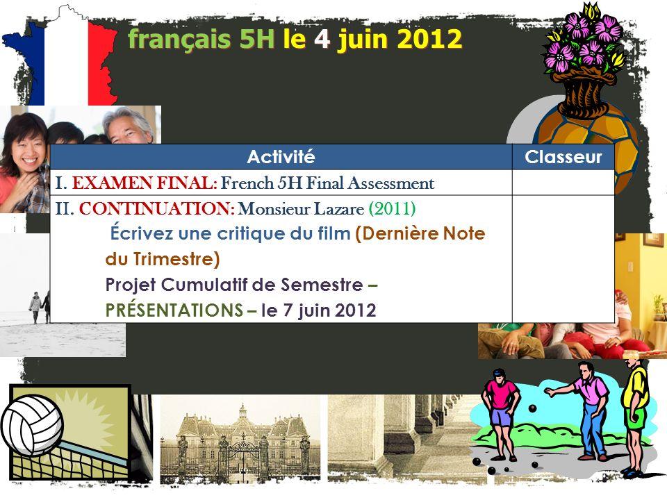 français 5H le 4 juin 2012 ActivitéClasseur I. EXAMEN FINAL: French 5H Final Assessment II.