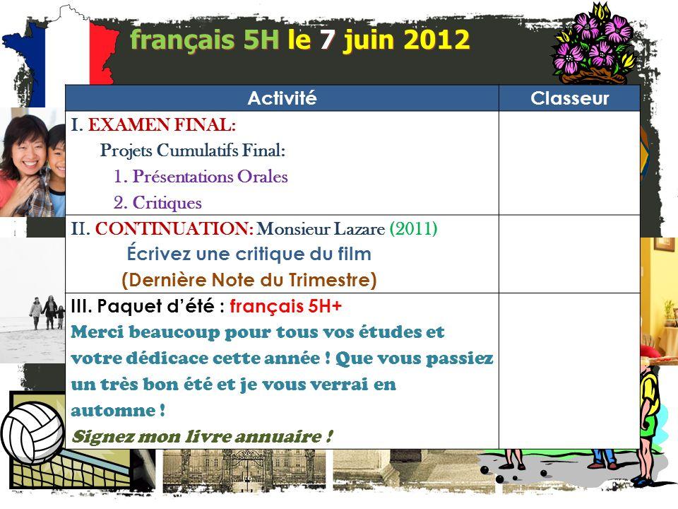 français 5H le 7 juin 2012 ActivitéClasseur I. EXAMEN FINAL: Projets Cumulatifs Final: 1.