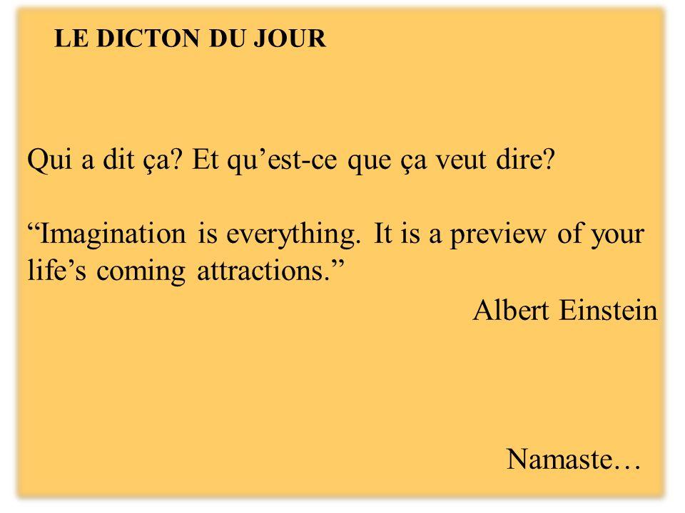 Qui a dit ça.Et quest-ce que ça veut dire. Imagination is everything.