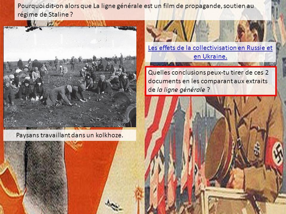 Pourquoi dit-on alors que La ligne générale est un film de propagande, soutien au régime de Staline ? Paysans travaillant dans un kolkhoze. Les effets
