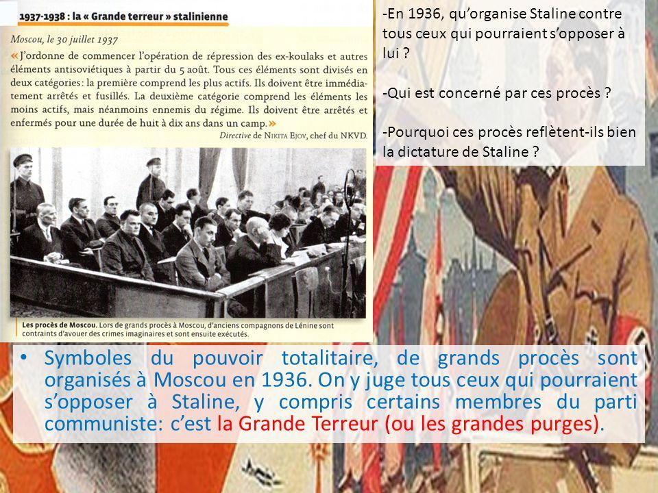 -En 1936, quorganise Staline contre tous ceux qui pourraient sopposer à lui ? -Qui est concerné par ces procès ? -Pourquoi ces procès reflètent-ils bi