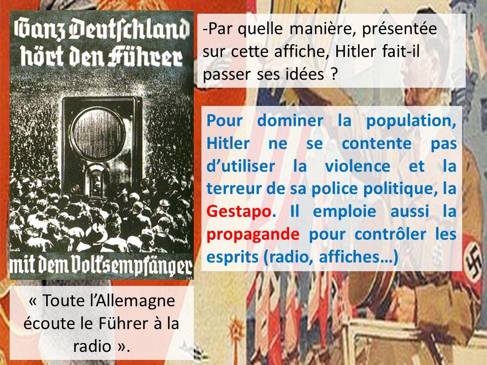 « Toute lAllemagne écoute le Führer à la radio ». -Par quelle manière, présentée sur cette affiche, Hitler fait-il passer ses idées ? Pour dominer la