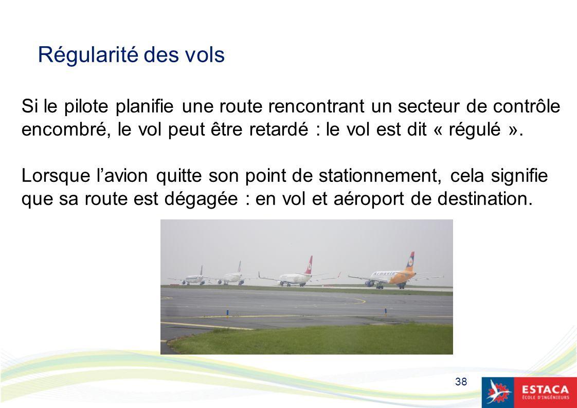 38 Régularité des vols Si le pilote planifie une route rencontrant un secteur de contrôle encombré, le vol peut être retardé : le vol est dit « régulé