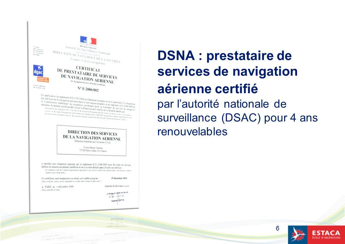6 DSNA : prestataire de services de navigation aérienne certifié par lautorité nationale de surveillance (DSAC) pour 4 ans renouvelables