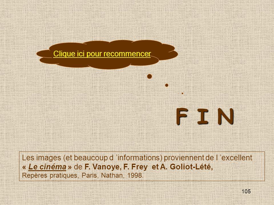105 F I N Clique ici pour recommencer Les images (et beaucoup d informations) proviennent de l excellent « Le cinéma » de F. Vanoye, F. Frey et A. Gol