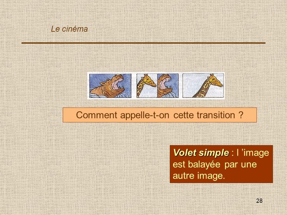 28 Comment appelle-t-on cette transition ? Volet simple Volet simple : l image est balayée par une autre image. Le cinéma
