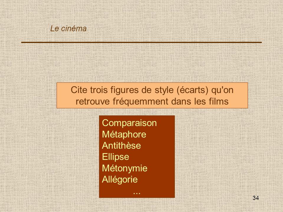 34 Cite trois figures de style (écarts) qu'on retrouve fréquemment dans les films Comparaison Métaphore Antithèse Ellipse Métonymie Allégorie... Le ci
